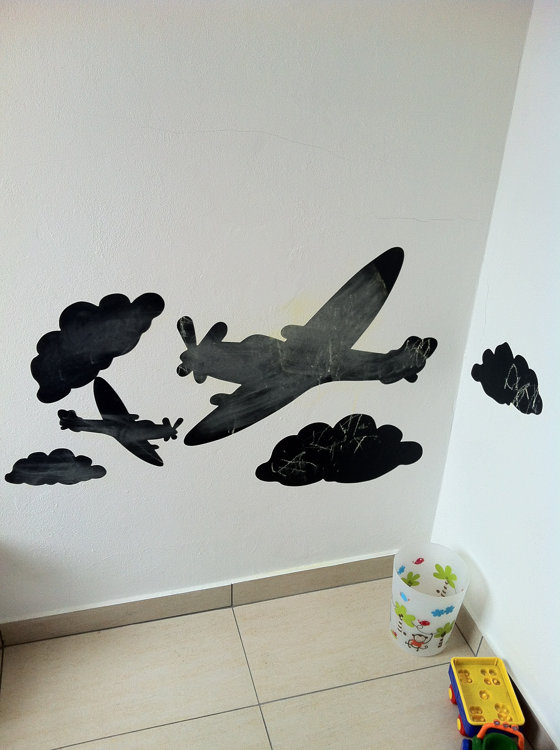 Chalkboard planes and clouds